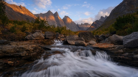 Gates of the Arctic NP, Alaska - cascading, water, usa, mountains, river, trees, landscape