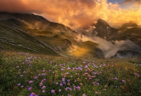 the dance of clouds - mountain, sunset, clouds, meadow