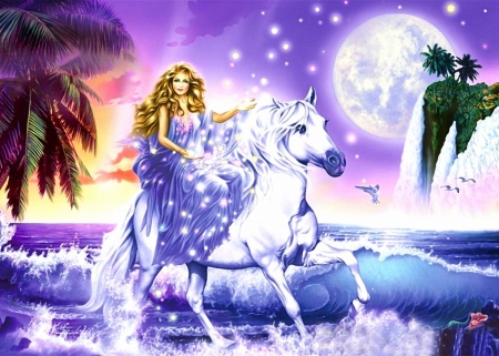 Ride in the Night - moon, horse, girl, night