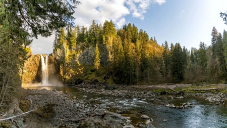 Snoqualmie Falls, Washington - trees, usa, water, river, clouds, sky