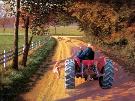A Ride Down Memory Lane - fence, tractor, painting, child, fields, road, trees, deer