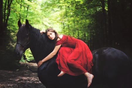 Cowgirl on her Horse - dress, horse, cowgirl, model