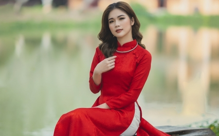 Girl from Vietnam - brunette, girl, prety, Vietnam, red dress