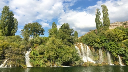 Waterfalls in Krka National Park in Croatia - river, sky, trees, landscape, clouds