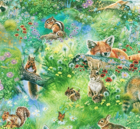 Texture - texture, abraham hunter, bunny, deer, animal, chipmunk, pattern, squirrel, rabbit, green, fox, paper