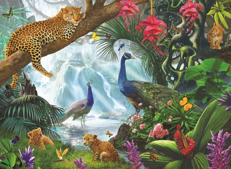 Peacocks and leopards by Steve Crisp - bird, paun, peacock, pasari, animal, art, leopard, steve crisp, painting, jungle, pictura