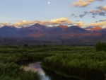 Moonset at sunrise, Owens Valley, California