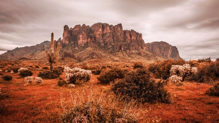 Superstition Mountains, Arizona - usa, landscape, rocks, desert, cactus, clouds, sky