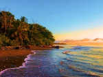 Golden hour along a beach of Matapalo, Costa Rica