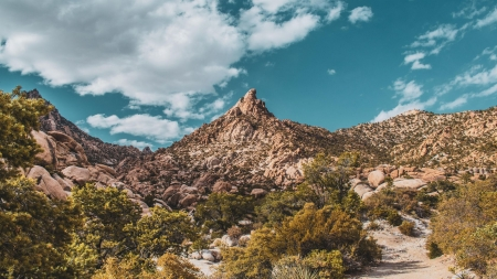 Mountains in the Mojave Desert - sky, usa, california, landscape, clouds