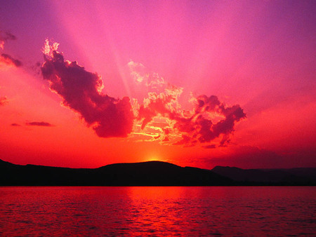 3d winter - sky, pink, water, mountain, red, sun