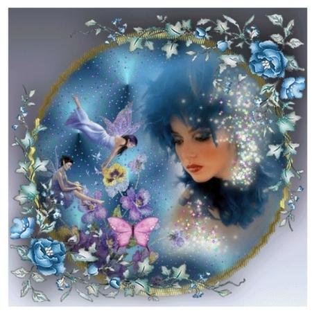 Fairys at play - flowers, butterfly, women, window, fairys