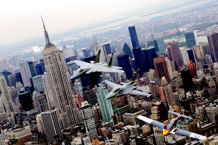 Memorial Day Air Show - f15, p51 mustang, f16, empire state building