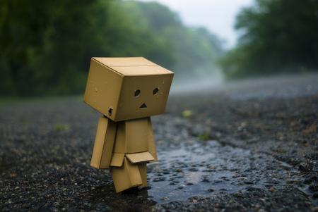 Danbo Alone - danbo, water, robot, box