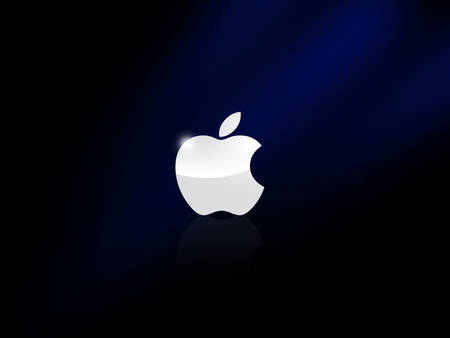 Apple Logo - Reflected - apple, mac, macintosh, think different, black, technology, gloss, metal, cool, logo, reflection, night