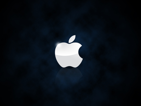 AppleLogo-Clouds - macintosh, logo, apple, gloss, mac, technology, cool, reflection, clouds, metal, think different, night, black