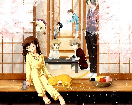 Fruits Basket - cat, boys, fruits basket, anime, kyo, cute, sakura blossoms, sexy, tohru, girl, pijamas
