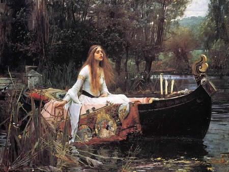 The Lady of Shalott - painting, pre-raphaelite, lady, romance