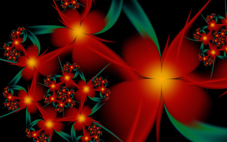 Passion Flower - fractals, black, flowers, red, spiral