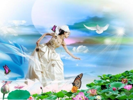 I loved nature - butterflies, nature, sky, woman, flowers