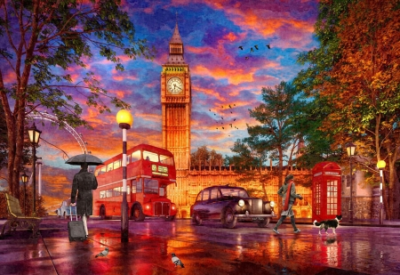 Parliament Square Sunset - buildings, sunset, big ben, clouds, sky, artwork, bus, lights, digital