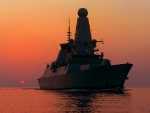 HMS_Dragon-at-Sunset  TYPE 45 DDG WORLD OF WARSHIPS