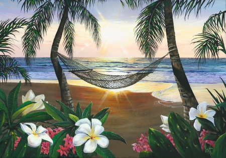 Twilight Hammock - beach, palmtrees, sun, digital, flowers, blossoms, sea