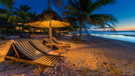 Night in Mauritius - Sand, Mauritius, Beach, Ocean, Holiday, Sunset, Water, Sea, Lights, Break, Relax, Indian, Resort, Island, Night