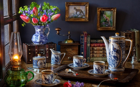 Still life - Style, Flowers, Lamp, Book