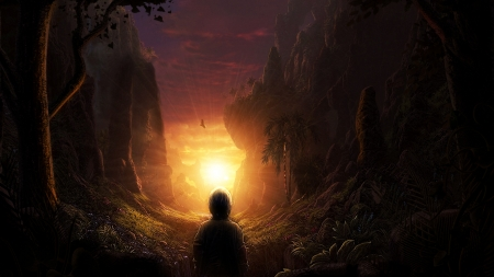 Fantasy world - mountains, nature, sunset, clouds, trees, sky, landscape, sun, boy, digital