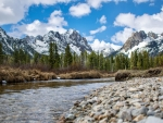 A beautiful spring day in the Sawtooth Mountains, Idaho