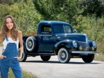 Farmer Katya Clover and her 1941 Ford Deluxe truck