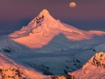 Moon rise over Mount Aspiring, New Zealand