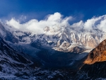 Annapurna 1 in the Himalayas at Sunrise