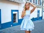 Blonde Dressed in Baby Blue Dress