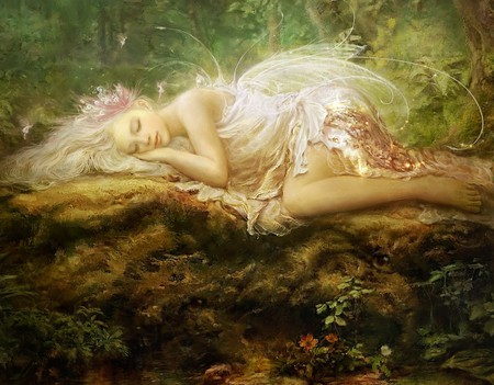 Watching Over Her - wings, lying, white, painting, log, forest, meadow, fairy, sleeping, fee, trees, woods, beautiful, lovely, fantasy, wood, magical, girl