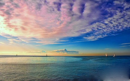 COLORFUL SEASCAPE - colorful, ocean, clouds, ships, enchanting