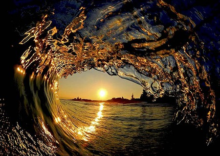 Wave of Liquid Gold - oceans, photography, reflections, sunsets, clark little, waves, beaches