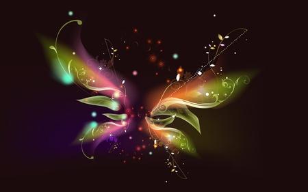 Butterfly - butterfly, beautiful, wings, flyaway, elektric, colors, sky, black