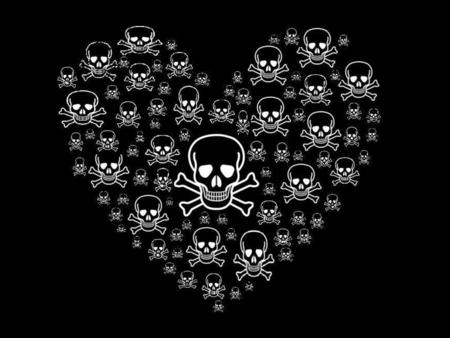 SKULLS OF HEARTS - shape, white, heart, skulls