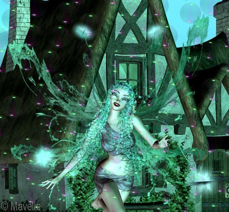 Lumiere - faerie, house, wings, spheres, fairy, lights