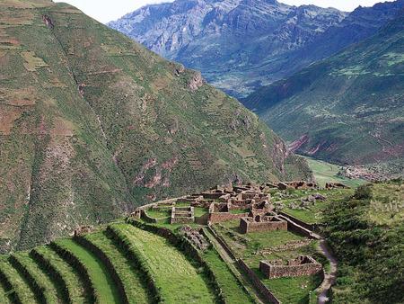 Pisac, Peru - flowers, pisac, cities, streets, scene, peru