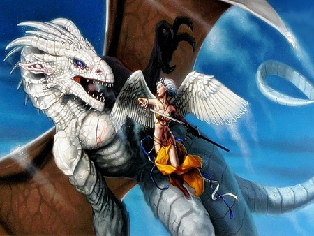 Angels and dragons - fantasy, angel, white dragon, slayer, abstract