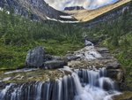 Cascading Waterfall Glacier ,National Park, Montana