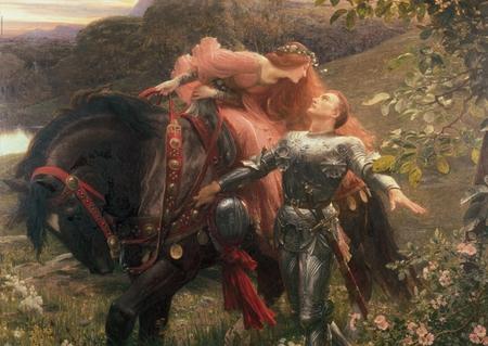 'La Belle Dame Sans Merci'. - victorian, man, frank dicksee, pre raphaelite, woman, art, romanticism, poetry, horse