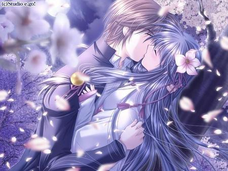 spring kiss. - flowers, kiss, anime
