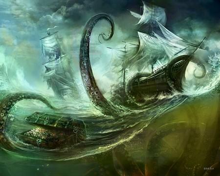 Octopus - fantasy, graphics, ship, dark, dark art, octopus