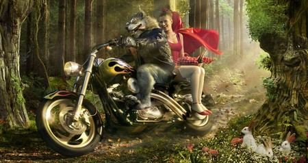 Redcap and the evil wolf / Rotkaepchen und der boese Wolf - red, hood, cg, 3d and cg, woods, motorcycle, character, fantasy, widescreen, dark art, graphics, redcap, riding, abstract, 3d, dark, rotkaepchen, motorcycles, wolf, fable