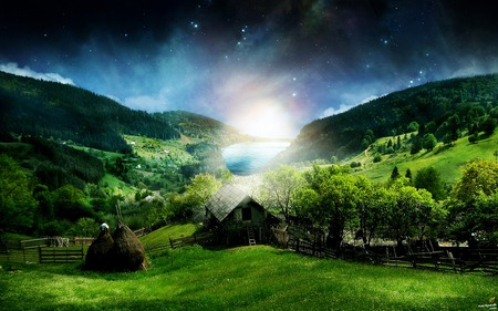 Nature 3d Wallpaper   - landscape, glow, 3d, green, abstract, fantasy land, river, nature