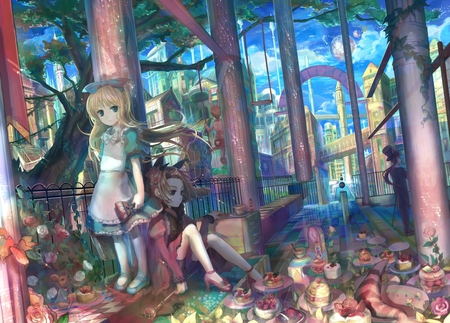 Girl and Boy - snack, ponytail, food, white, building, anime, shoes, cute, flower, dress, female, rabbit, queen of hearts, long hair, blonde, male, alice, girl, boy, anime girl